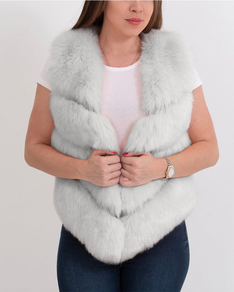MONACO Grey Faux Fur Vest