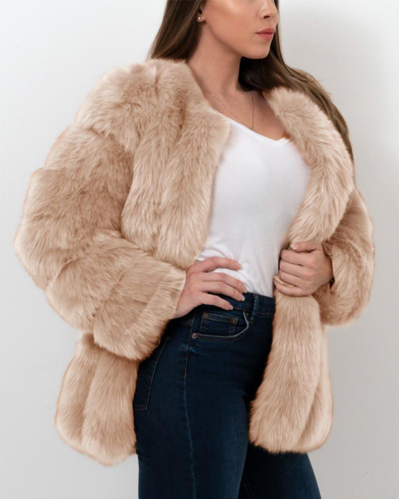 MOSCOW Beige Faux Fur Coat