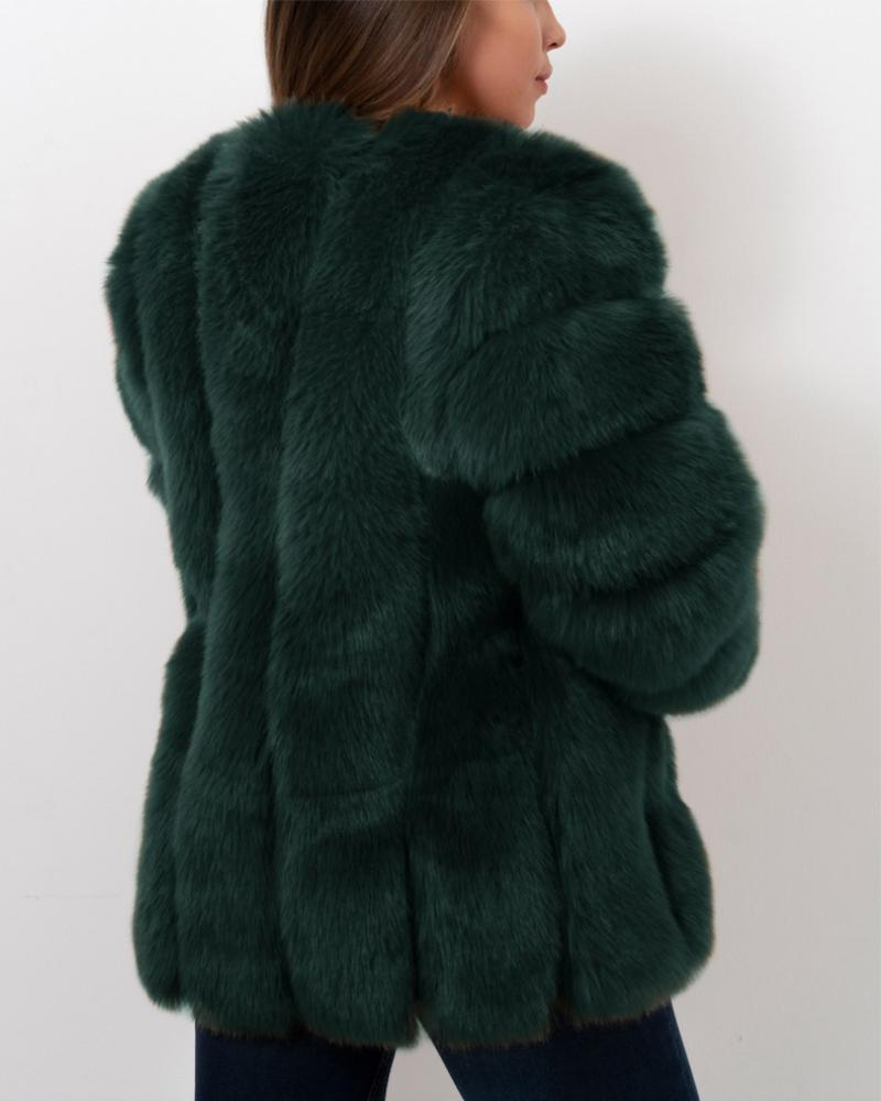 MOSCOW Green Faux Fur Coat