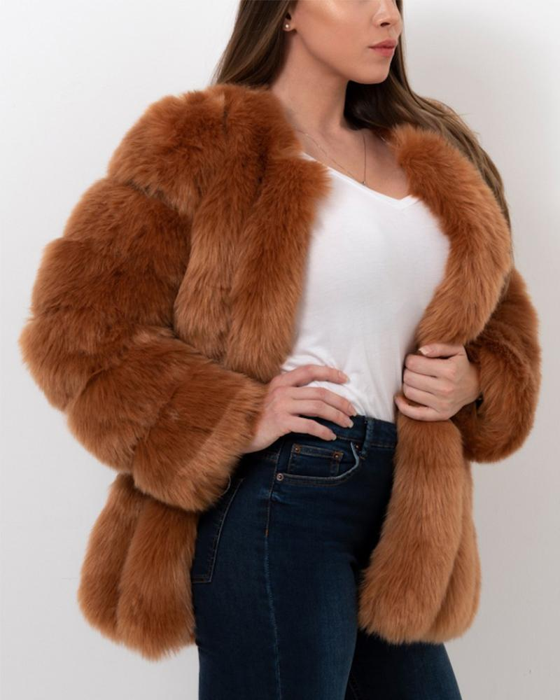 MOSCOW Brown Faux Fur Coat