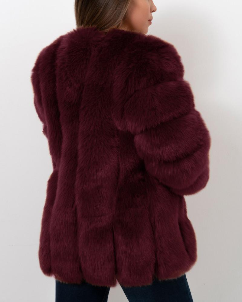 MOSCOW Red Faux Fur Coat