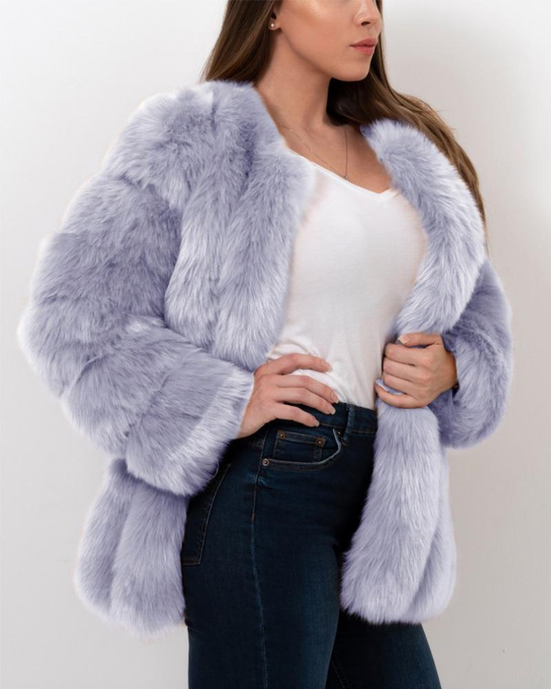 MOSCOW Purple Faux Fur Coat
