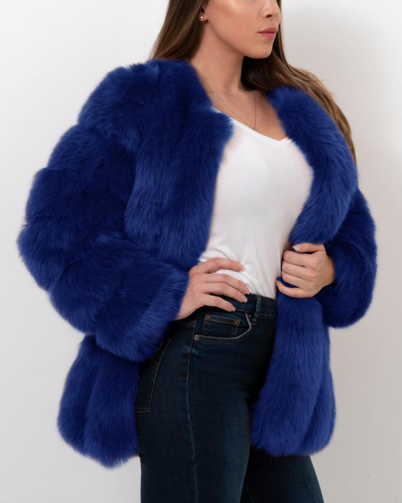 MOSCOW Blue Faux Fur Coat