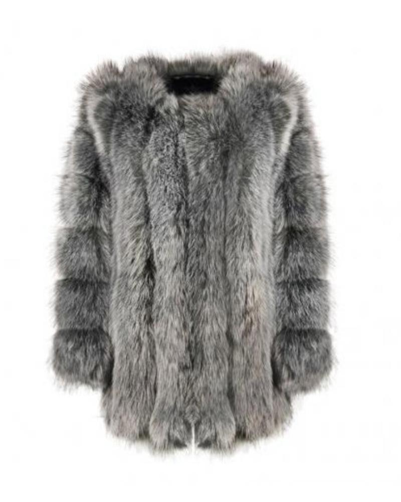 MOSCOW Grey Faux Fur Coat