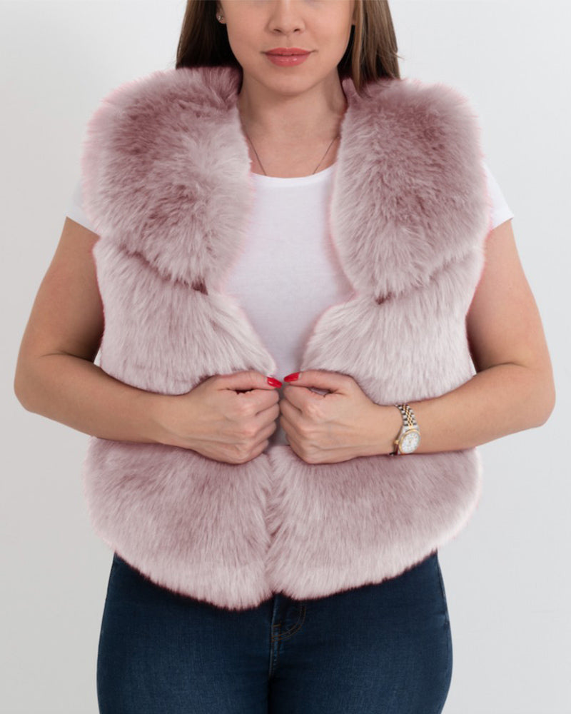 NEW YORK Pink Faux Fur Vest