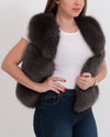 new york grey faux fur vest | furever faux fur