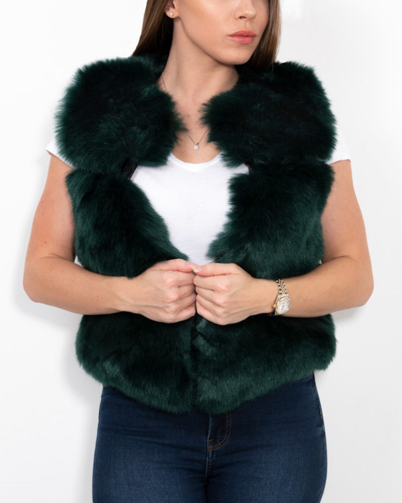 new york green faux fur vest | furever faux fur