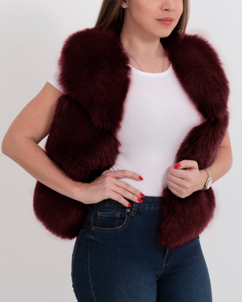 NEW YORK Red Faux Fur Vest