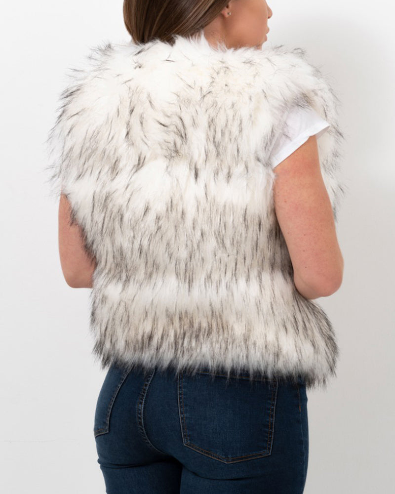new york raccoon white faux fur vest | furever faux fur
