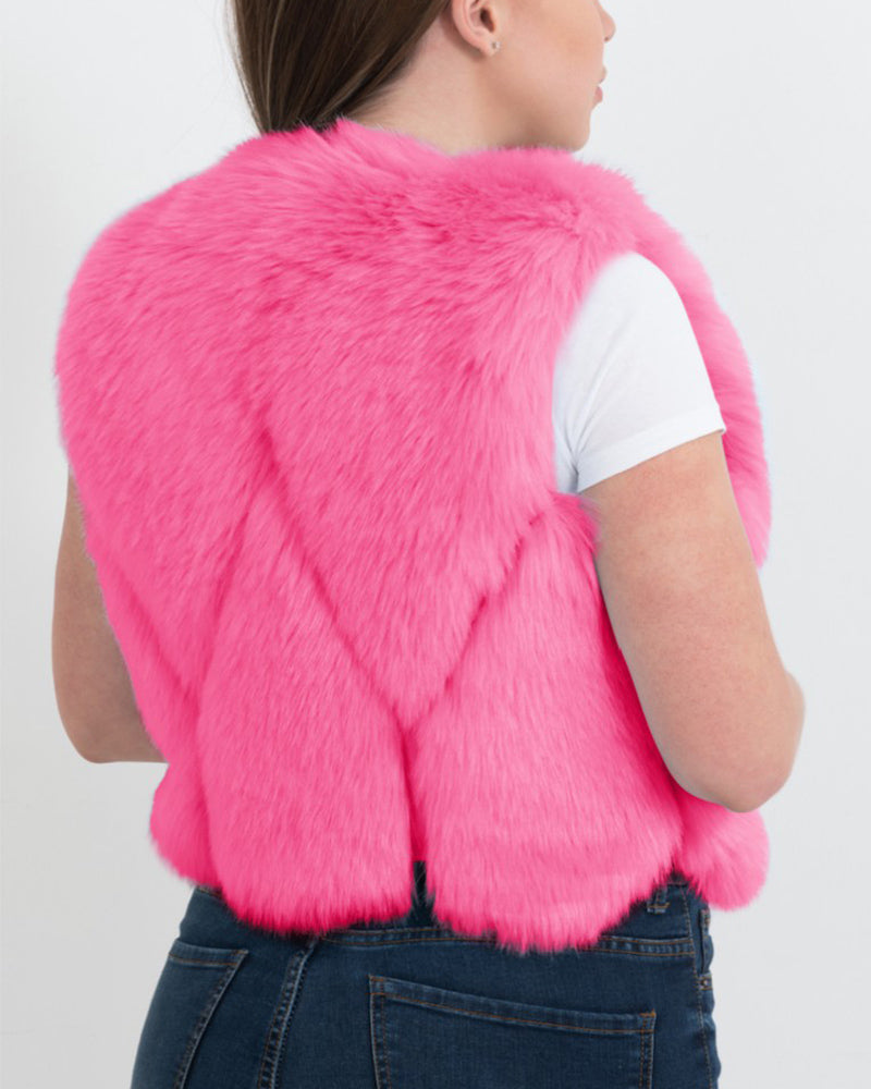 PARIS Pink Faux Fur Vest