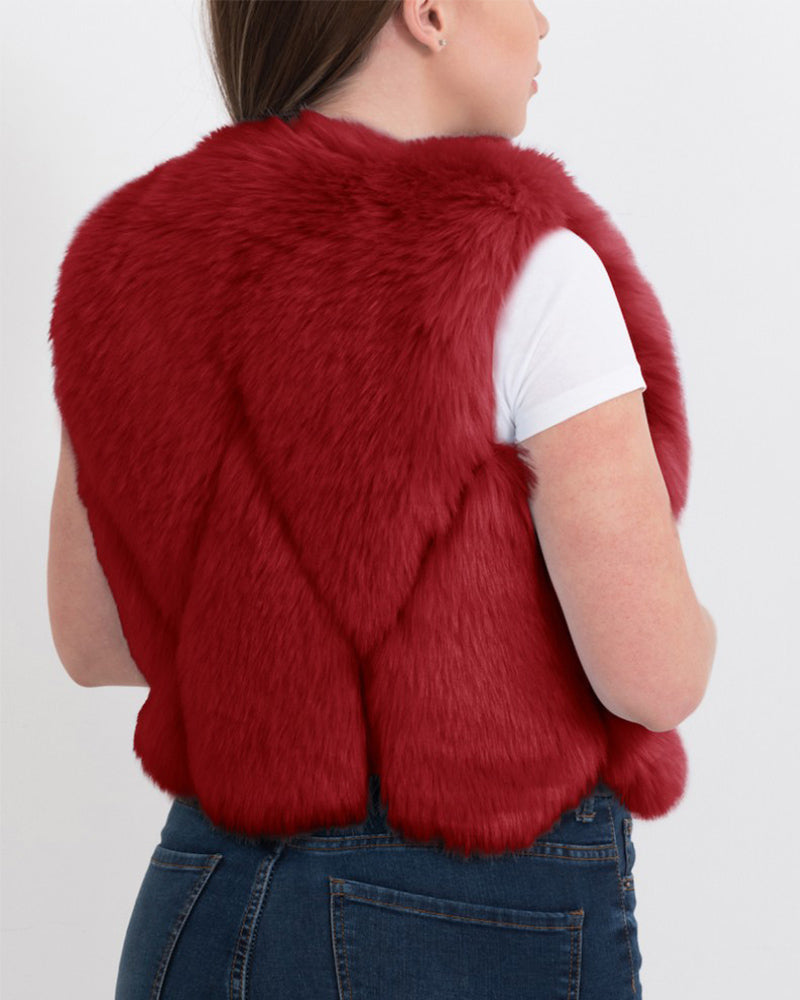 paris red faux fur vest | furever faux fur