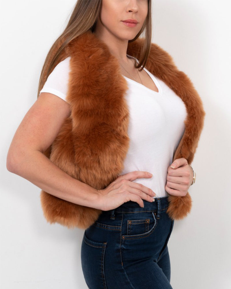 paris brown faux fur vest | furever faux fur