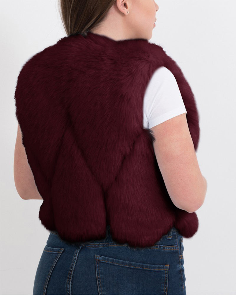 PARIS Red Faux Fur Vest