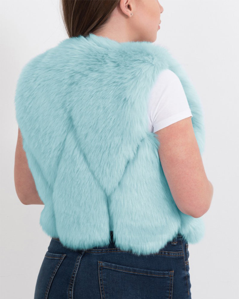 PARIS Mint Faux Fur Vest
