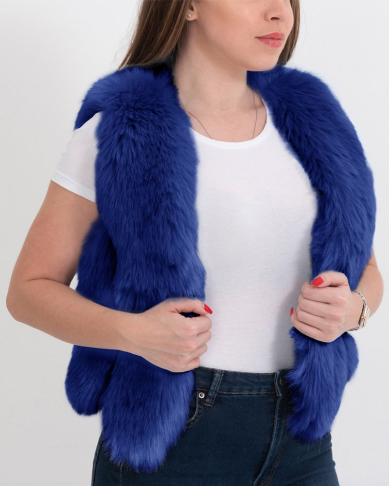 PARIS Blue Faux Fur Vest
