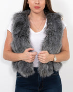 paris grey faux fur vest | furever faux fur