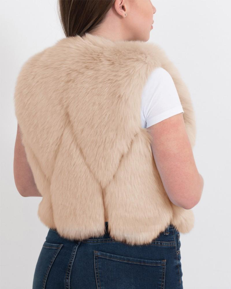 PARIS Beige Faux Fur Vest
