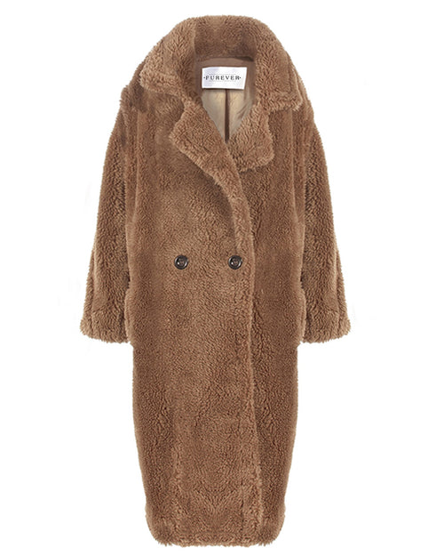 PRAGUE Brown Faux Fur Teddy Coat