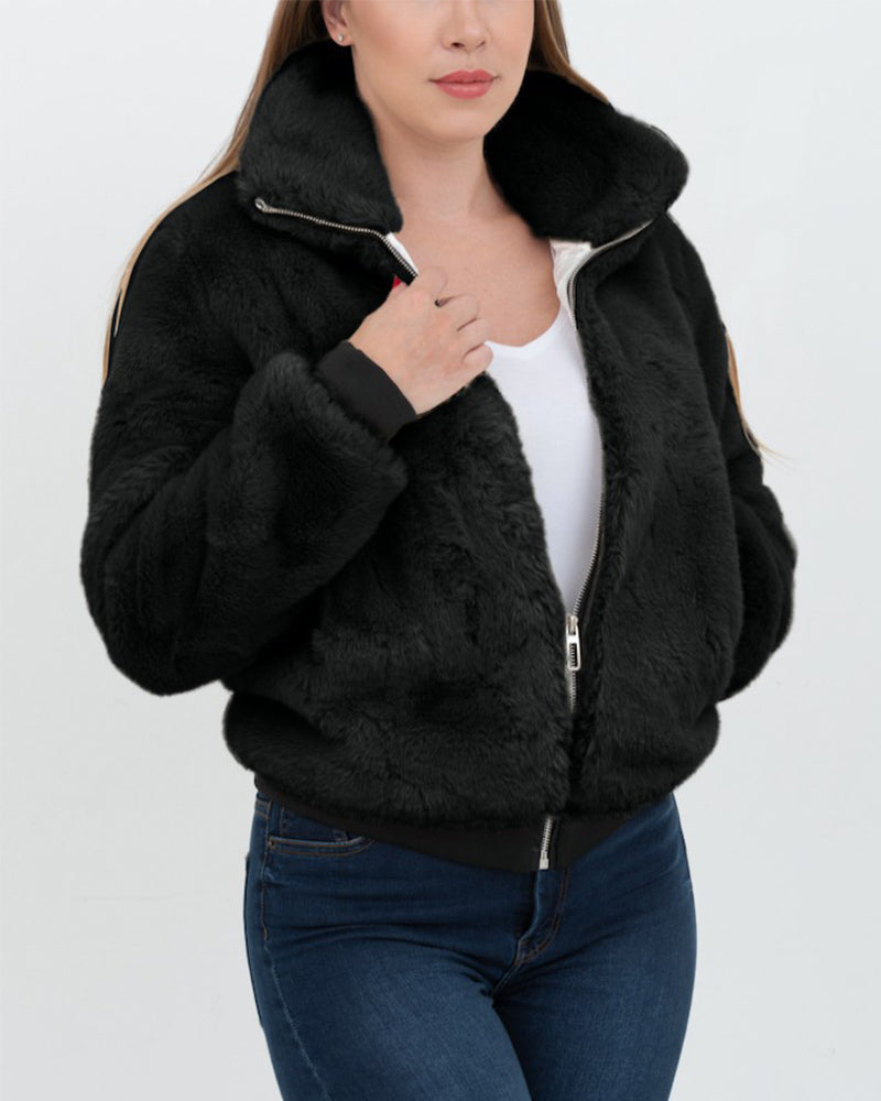 toronto black faux fur bomber jacket | furever faux fur