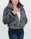 toronto grey faux fur bomber jacket | furever faux fur
