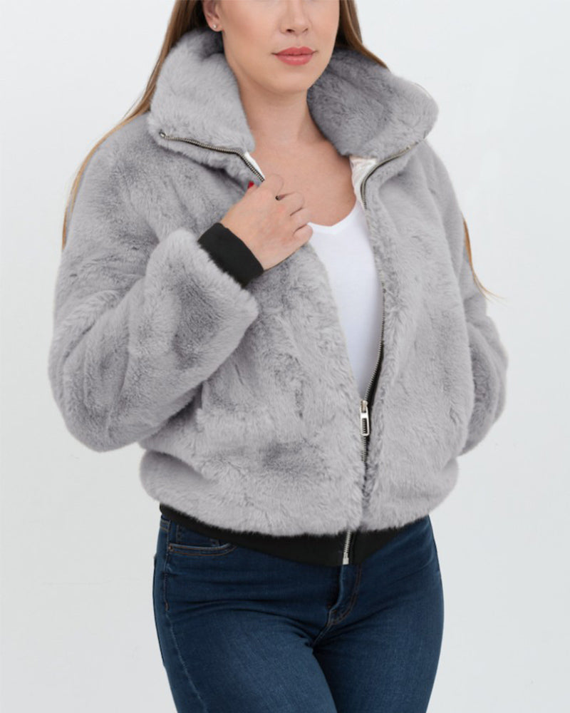 TORONTO Grey Faux Fur Bomber Jacket