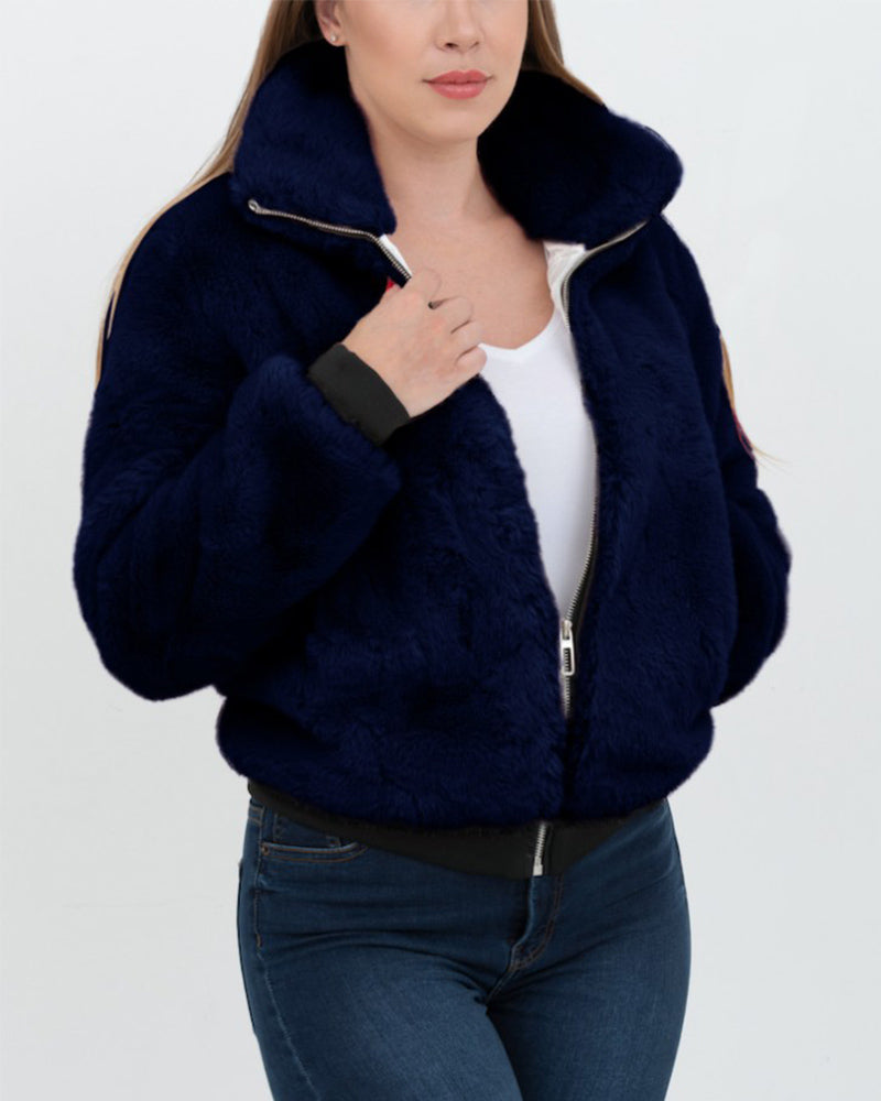 TORONTO Blue Faux Fur Bomber Jacket