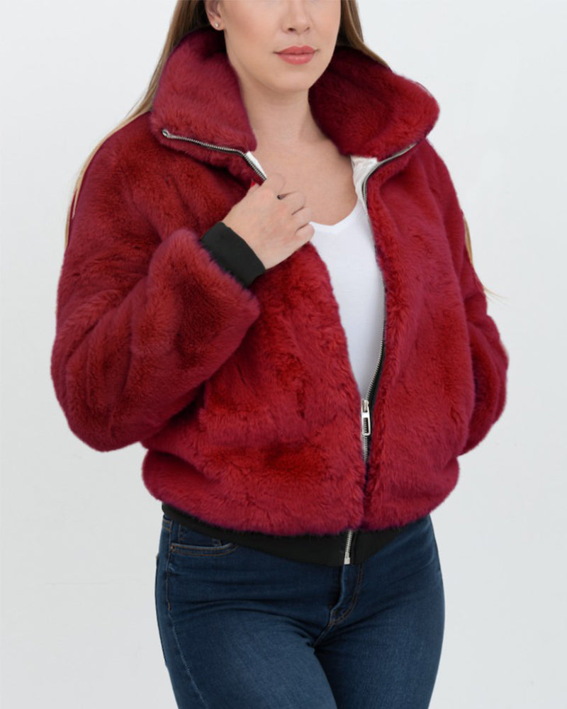 TORONTO Red Faux Fur Bomber Jacket
