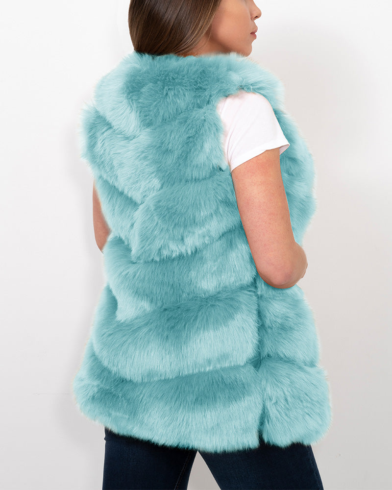 VIENNA Mint Faux Fur Vest