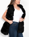 VIENNA Black Faux Fur Vest