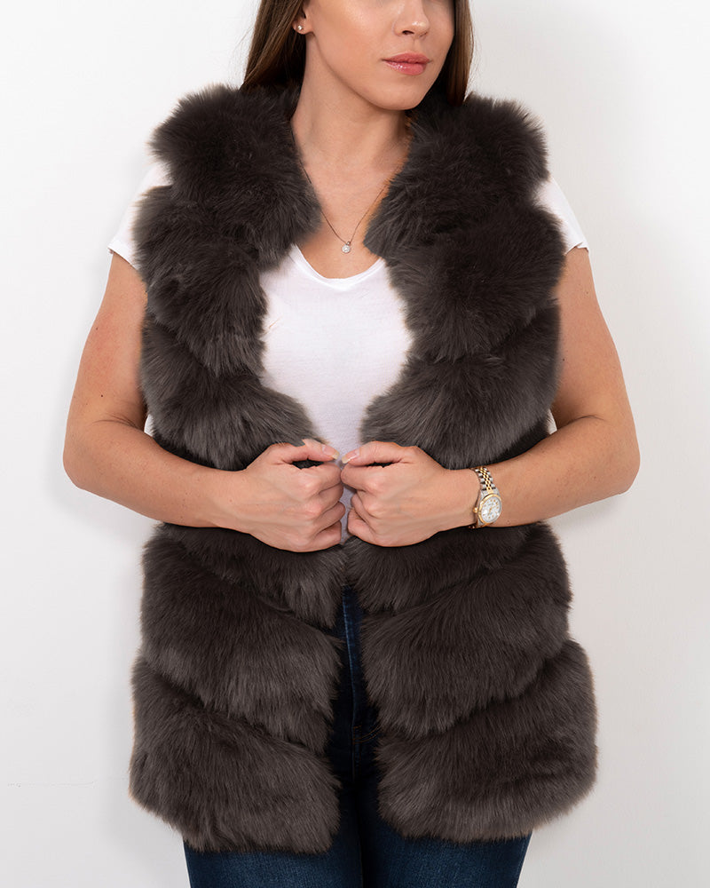 VIENNA Grey Faux Fur Vest
