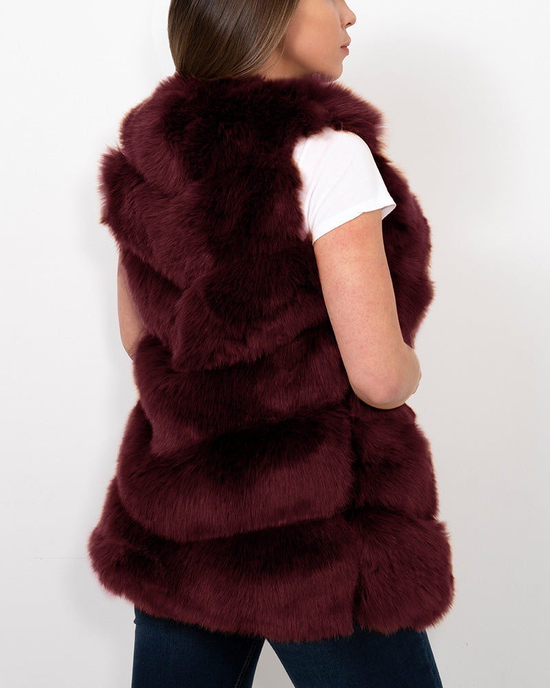 VIENNA Red Faux Fur Vest