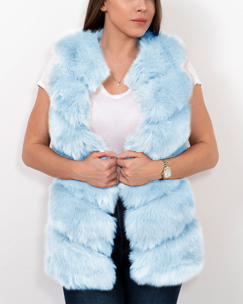 VIENNA Blue Faux Fur Vest