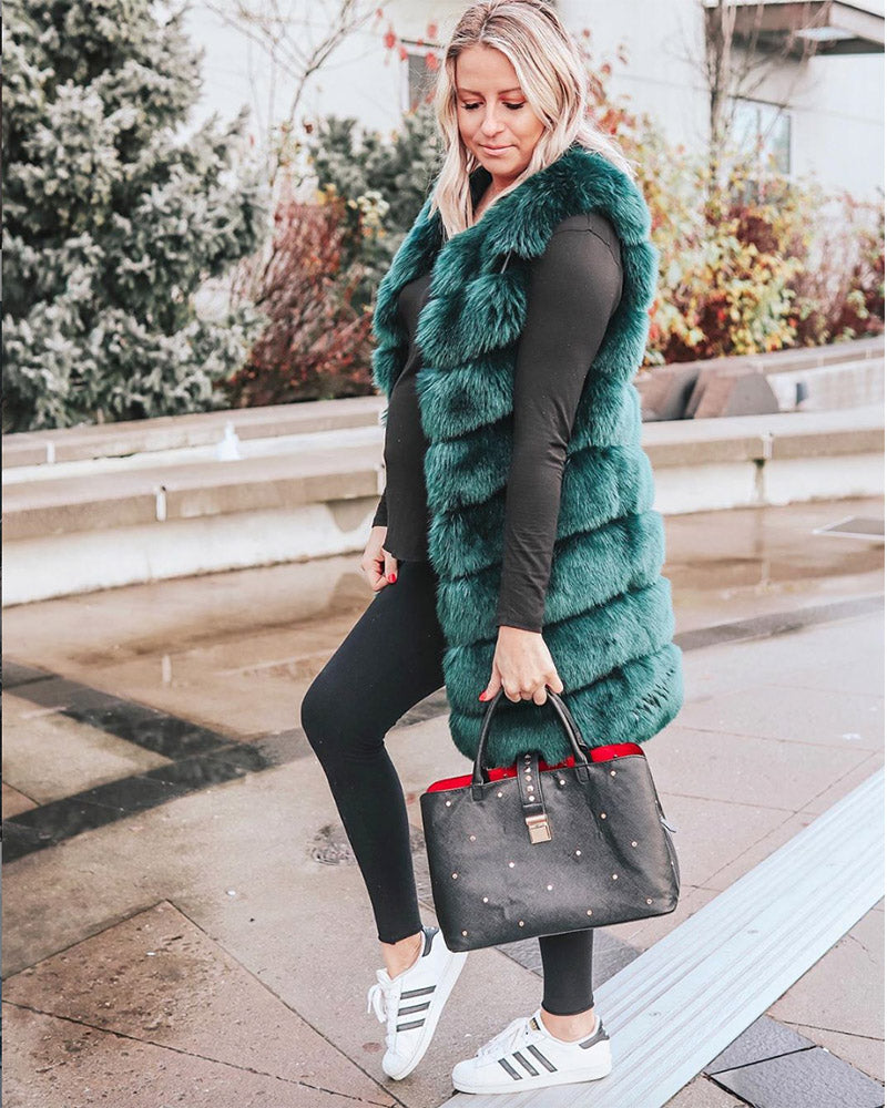 blogger jade brittany wearing a london green faux fur vest | furever faux fur