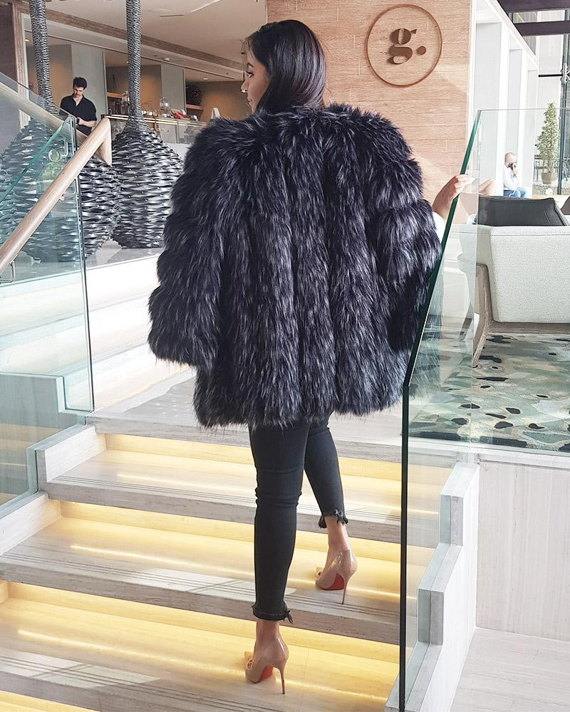 MOSCOW Raccoon Black Faux Fur Coat
