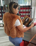 pretty girl wearing paris light brown faux fur vest | furever faux fur
