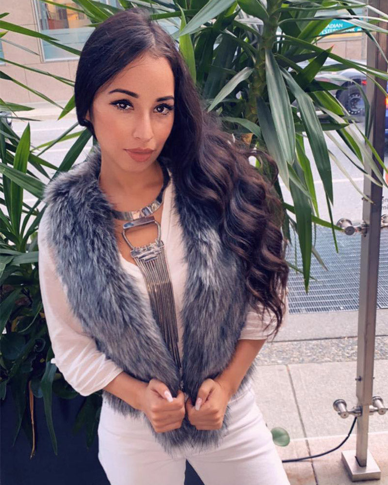 PARIS Grey Faux Fur Vest