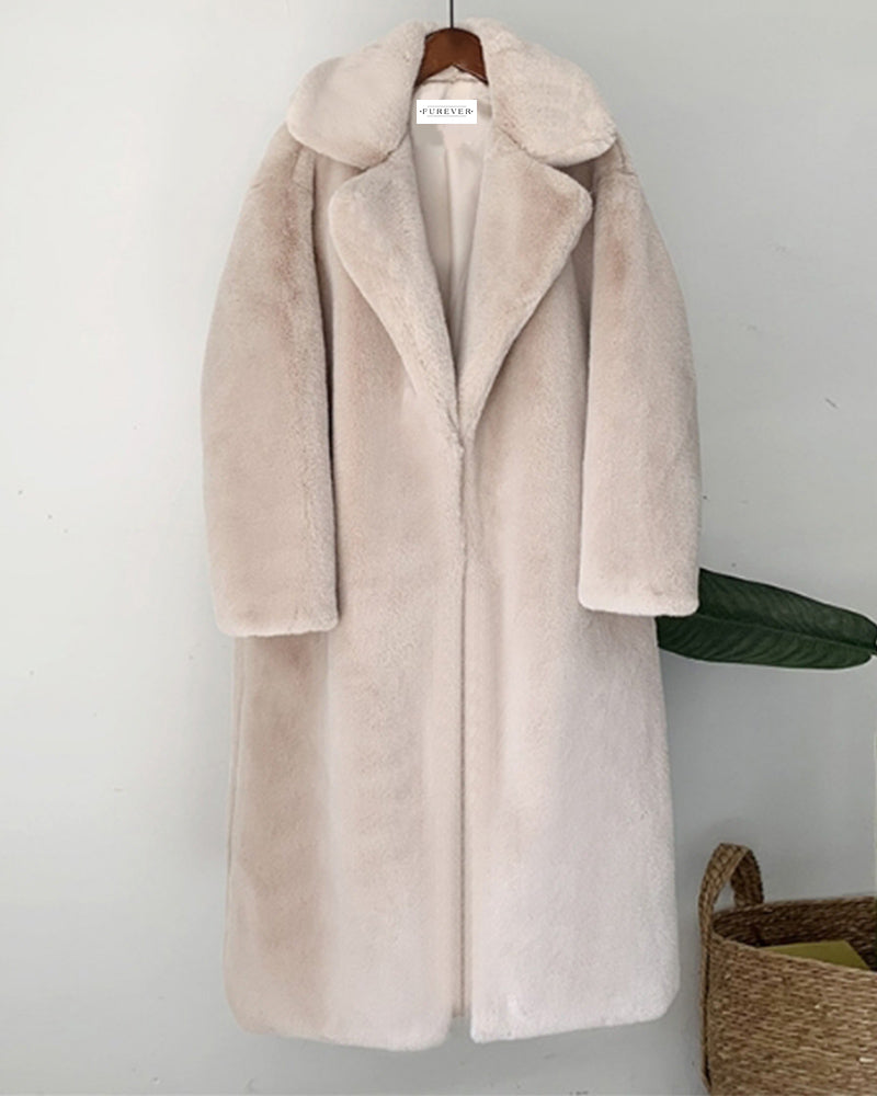 zurich beige oversized faux fur coat | furever faux fur