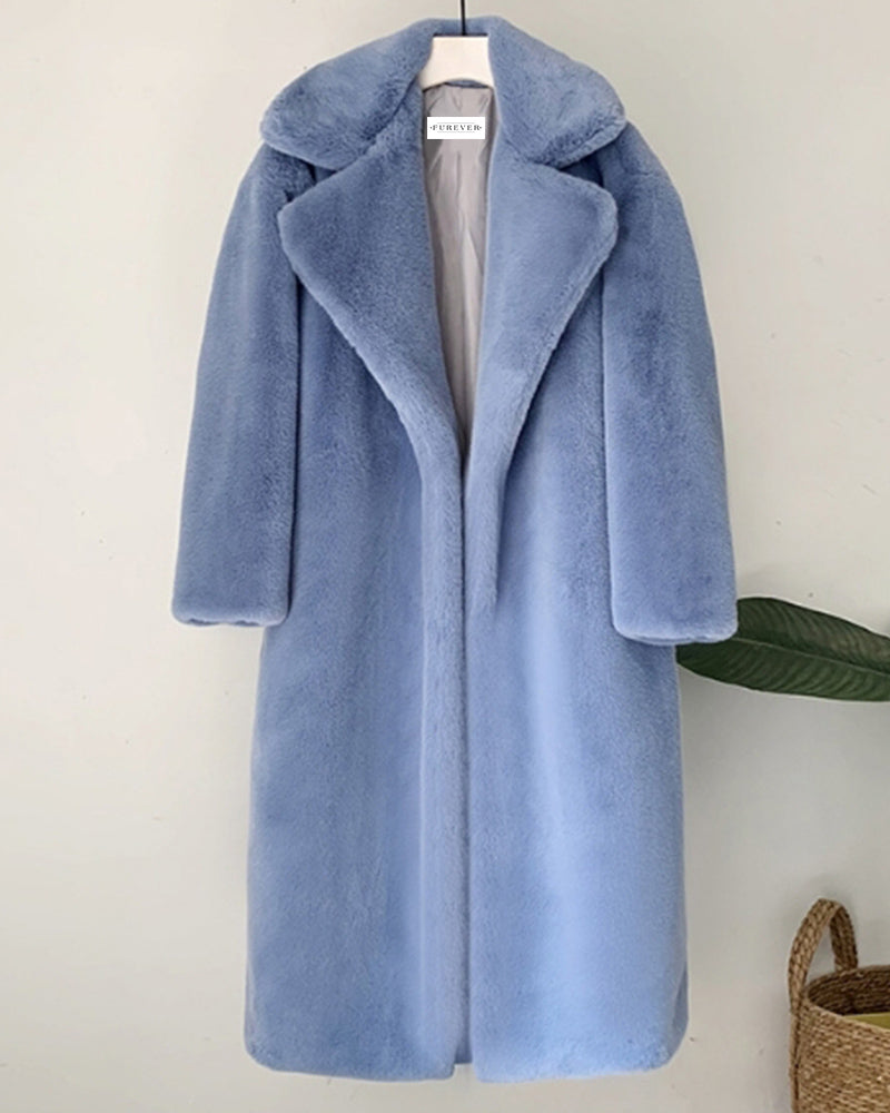 zurich blue  oversized faux fur coat | furever faux fur