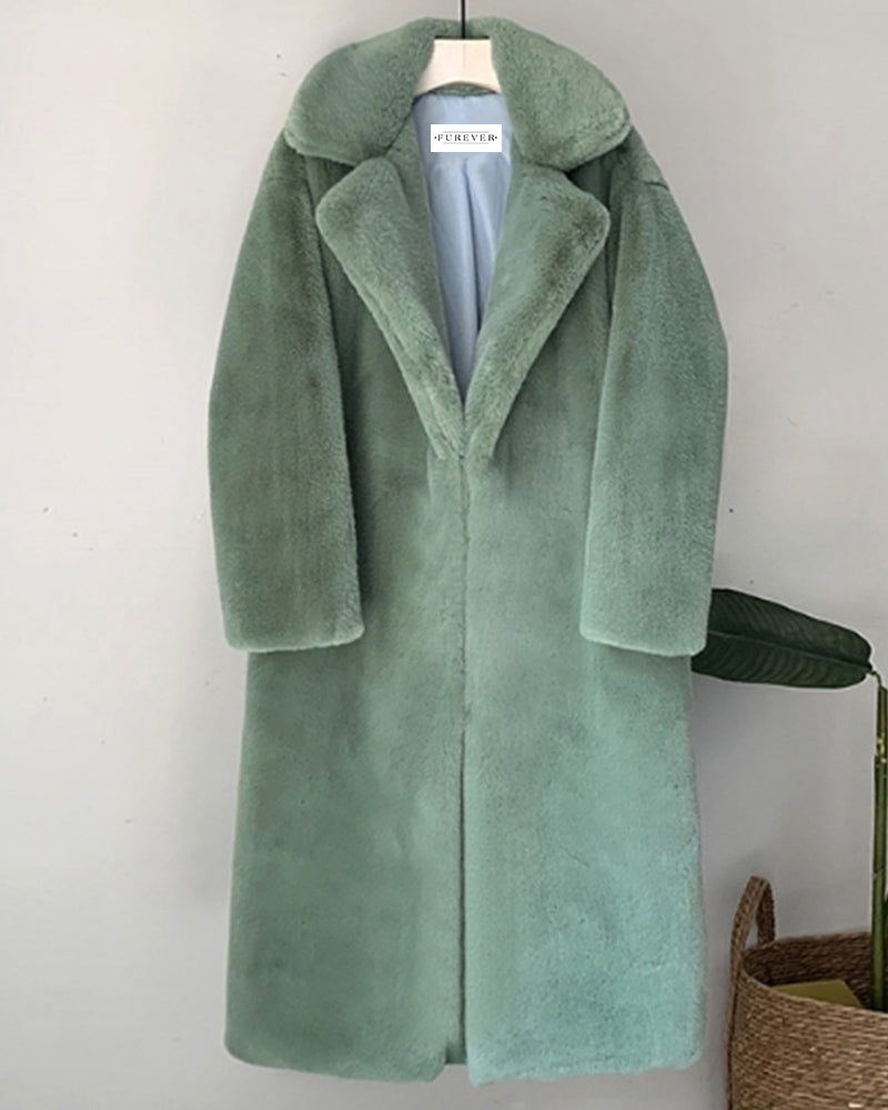 zurich green oversized faux fur coat | furever faux fur