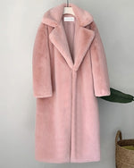 ZURICH Pink Oversized Faux Fur Coat