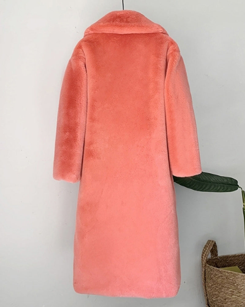 ZURICH Coral Oversized Faux Fur Coat