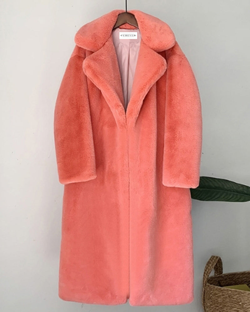 zurich coral oversized faux fur coat | furever faux fur