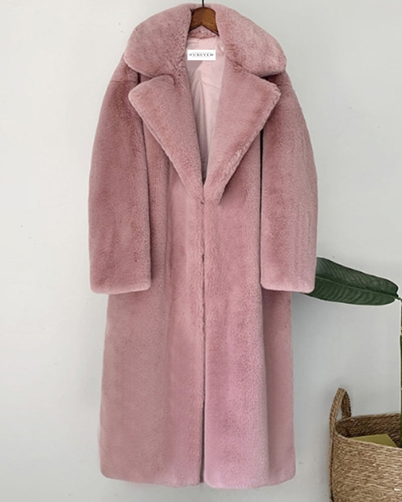 zurich pink oversized faux fur coat | furever faux fur