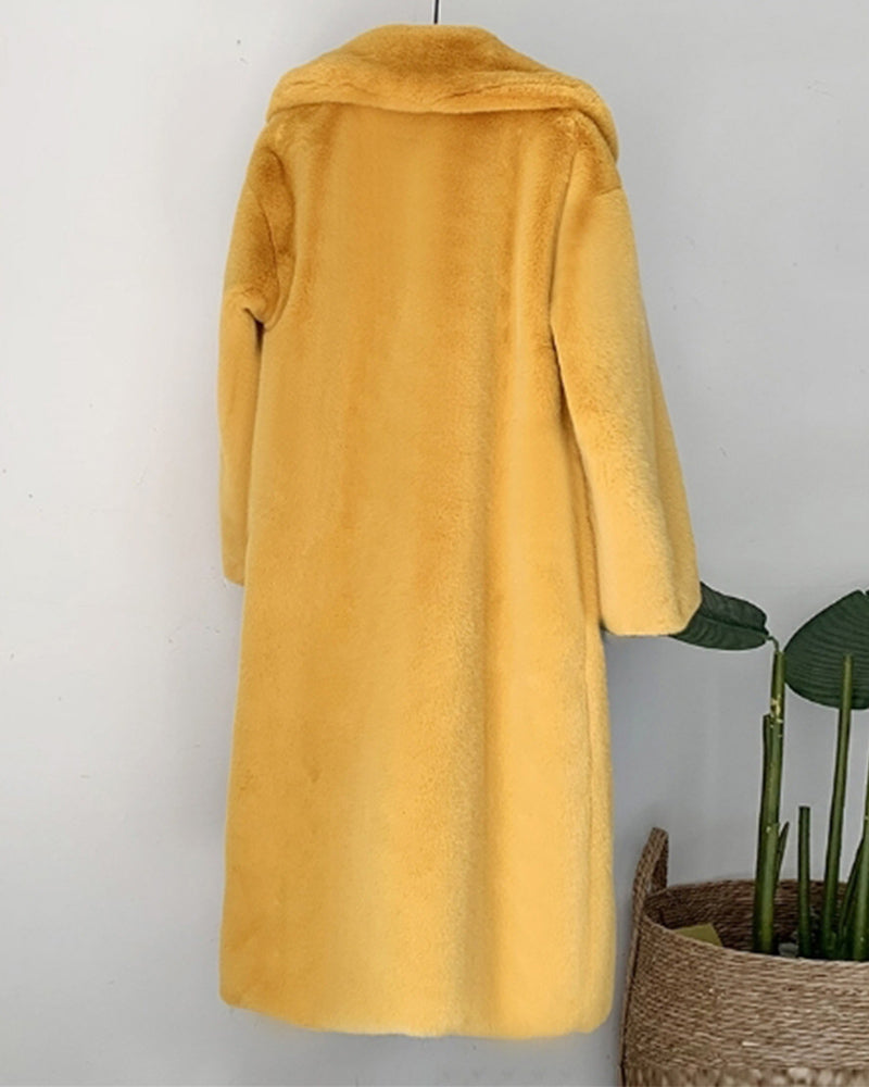 ZURICH Yellow Oversized Faux Fur Coat