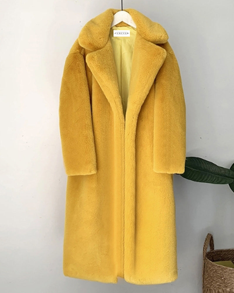 zurich yellow oversized faux fur coat | furever faux fur