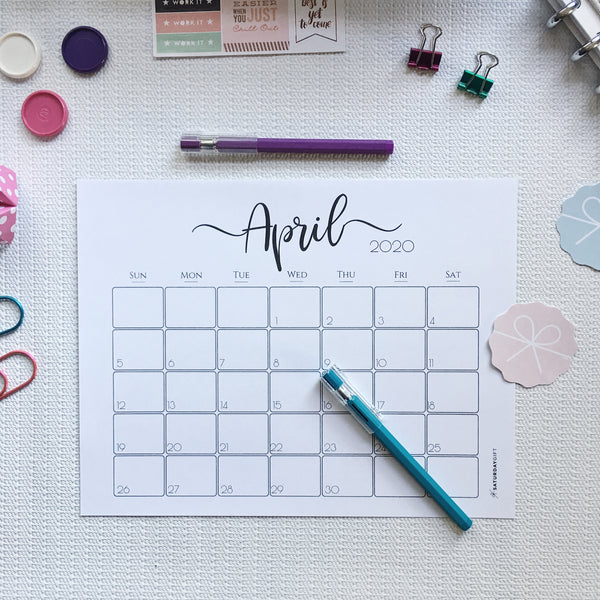 GET FREE from the library: Printable Elegant Monthly Calendar 2020 & 2021