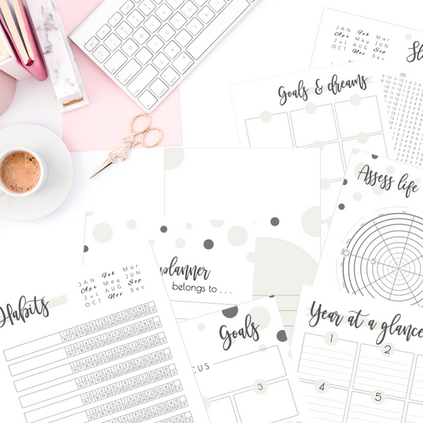 2020-2021 SaturdayGift Printable Planner: Feel good plans and goals - Color: Satin Linen (Dated Calendars)