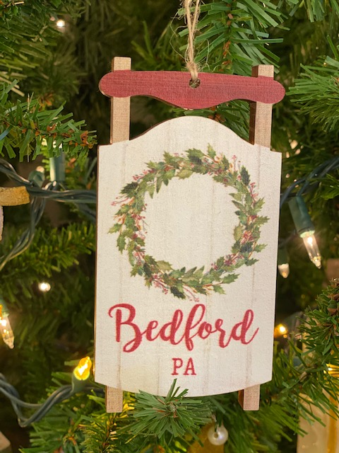 Bedford PA Wreath Sled Ornament