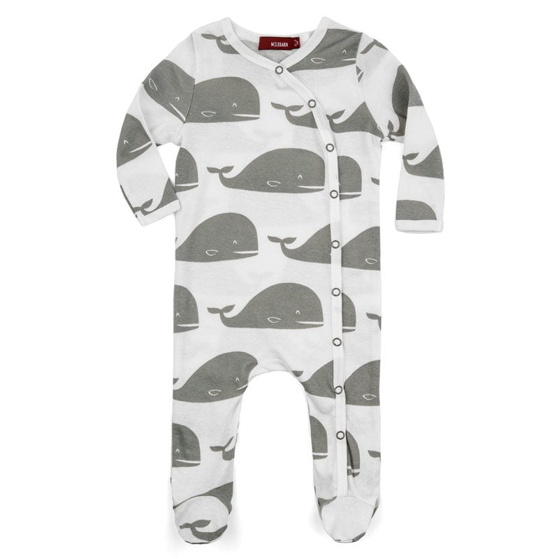 Milkbarn Footed Romper - Grey Whale