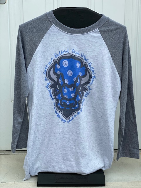 Bedford Bison Adult Grey Sleeve Tee